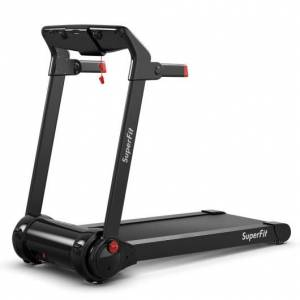 Costway 3HP Folding Electric Treadmill Running Machine with Bluetooth Speaker-Red