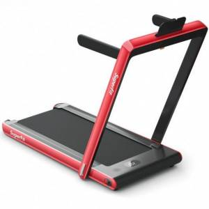 Costway 2-in-1 Electric Motorized Health and Fitness Folding Treadmill with Dual Display and Bluetooth Speaker-Red