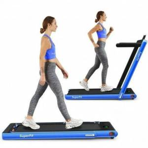 Costway 2 in 1 2.25 HP Under Desk Electric Installation-Free Folding Treadmil with Bluetooth Speaker and LED Display-Navy