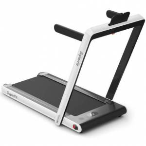 Costway 2-in-1 Electric Motorized Health and Fitness Folding Treadmill with Dual Display and Bluetooth Speaker-White