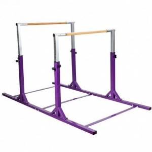 Costway Kids Double Horizontal Bars Gymnastic Training Parallel Bars Adjustable-Purple