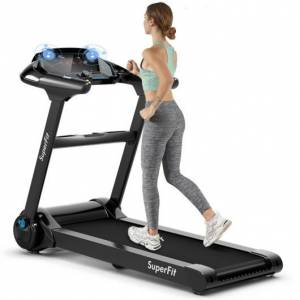 Costway 2.25HP Folding Treadmill Running Jogging Machine with LED Touch Display-Black