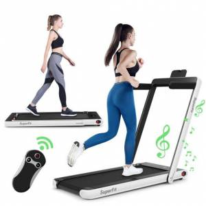 Costway 2 in 1 2.25 HP Under Desk Electric Installation-Free Folding Treadmil with Bluetooth Speaker and LED Display-White