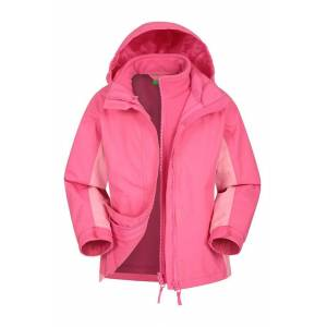 Mountain Warehouse Lightning 3 in 1 Kids Waterproof Jacket - Light Pink  - Size: 6X-8
