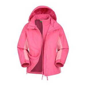 Mountain Warehouse Lightning 3 in 1 Kids Waterproof Jacket - Light Pink  - Size: 6X-8