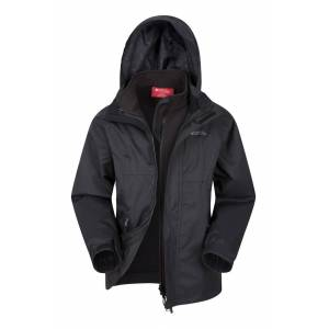 Mountain Warehouse Bracken Extreme 3 in 1 Kids Jacket - Black  - Size: 6X-8