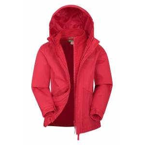 Mountain Warehouse Hailstorm 3-in-1 Kids Waterproof Jacket - Red  - Size: 11-12