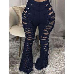 lovelywholesale Lovely Street Broken Holes Deep Blue Jeans  - Deep Blue - Size: 2X-Large