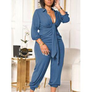 lovelywholesale Lovely Plus Size Casual Turndown Collar Bandage Design Blue One-piece Jumpsuit  - Blue - Size: Large