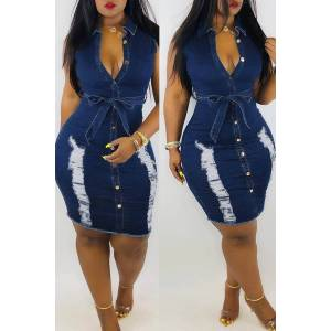 lovelywholesale Lovely Casual Broken Holes Blue Denim Knee Length Dress (With Belt)  - Blue - Size: 2X-Large