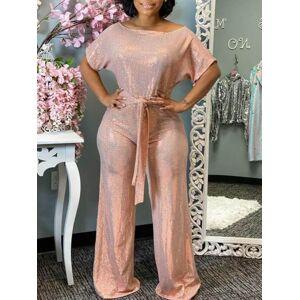 lovelywholesale Lovely Stylish Lace-up Pink One-piece Jumpsuit  - Pink - Size: Large