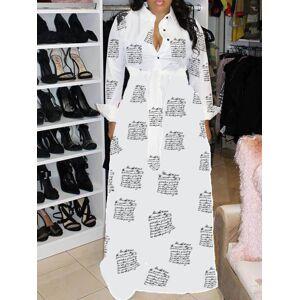 lovelywholesale Lovely Casual Turndown Collar Print White Maxi Dress  - White - Size: Small