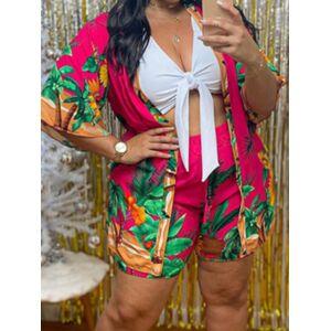 lovelywholesale Lovely Plus Size Boho Floral Print Bandage Design Red Three-piece Shorts Set  - Red - Size: 4X-Large