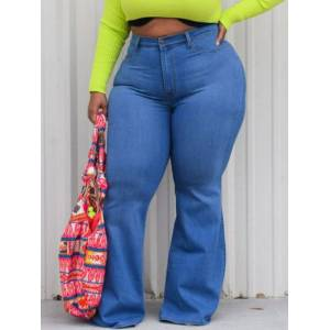 lovelywholesale Lovely Plus Size Casual Basic Blue Jeans  - Blue - Size: 5X-Large