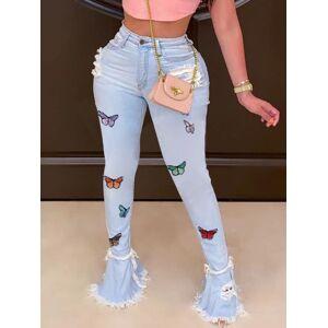 lovelywholesale Lovely Street Butterfly Broken Holes Blue Jeans  - Blue - Size: 2X-Large