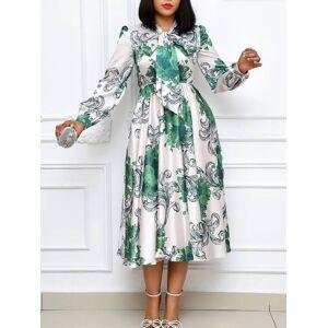 lovelywholesale Lovely Trendy Print Fold Design White Mid Calf Dress  - White - Size: 2X-Large