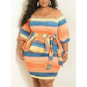 lovelywholesale Lovely Plus Size Casual Striped Bandage Design Croci Knee Length Dress  - Croci - Size: 2X-Large