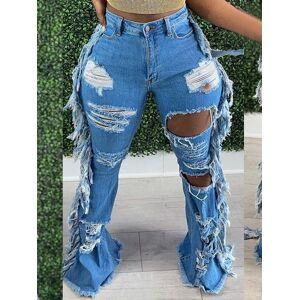 lovelywholesale Lovely Street Ripped Tassel Design Blue Jeans  - Blue - Size: Large