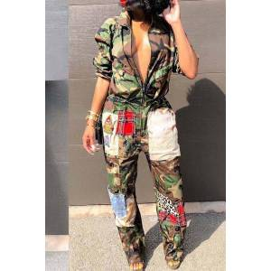 lovelywholesale Lovely Patchwork Camouflage Printed One-piece Jumpsuit  - Camo - Size: Extra Large
