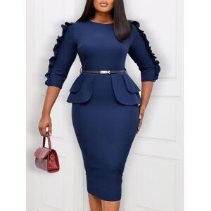 lovelywholesale Lovely Trendy O Neck Patchwork Deep Blue Knee Length Dress  - Deep Blue - Size: Small
