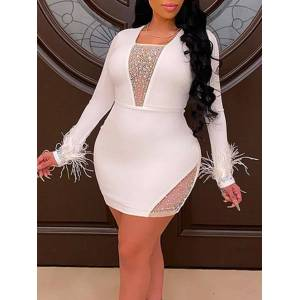 lovelywholesale Lovely Plus Size Party Square Colla Patchwork White Mini Dress  - White - Size: 4X-Large