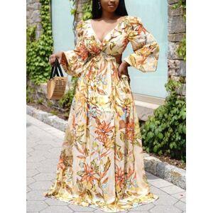 lovelywholesale Lovely Boho Floral Print Bandage Hollow-out Design Yellow Floor Length Dress  - Yellow - Size: Medium