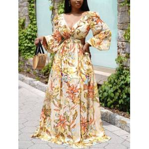 lovelywholesale Lovely Boho Floral Print Bandage Hollow-out Design Yellow Floor Length Dress  - Yellow - Size: Large