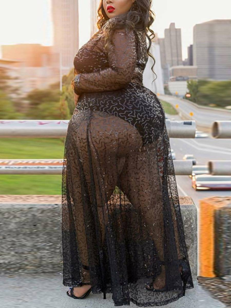 lovelywholesale Lovely Plus Size Sexy See-through Sequined Black Floor Length Dress  - Black - Size: 3X-Large