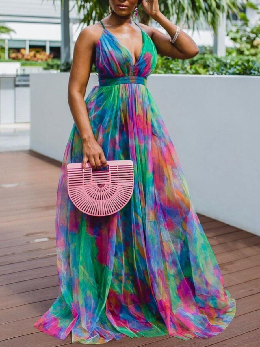 lovelywholesale Lovely Elegant V Neck Tie-dye Green Floor Length A Line Dress  - Green - Size: Extra Large