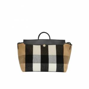 Burberry Check Wool Cashmere Society Holdall  - Archive Beige - Size: One Size
