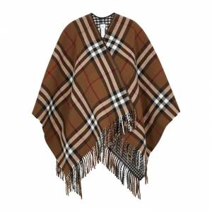 Burberry Checked Reversible Wool Cape  - Brown - Size: One Size