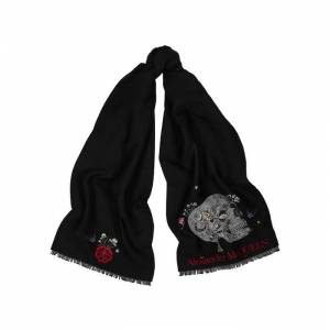 Alexander McQueen Brooches Monarch Wool-blend Scarf  - Black - Size: One Size