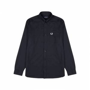 Fred Perry M8501 Navy Cotton Oxford Shirt  - Navy - Size: Small