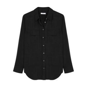 Equipment Slim Signature Black Silk Shirt  - Black - Size: Small