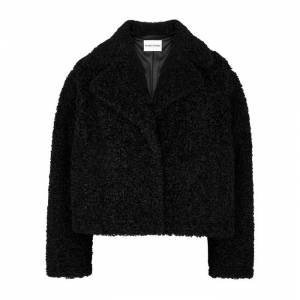 Stand Studio Justine Black Cropped Faux Shearling Jacket  - Black - Size: 10