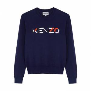 Kenzo Navy Logo-embroidered Organic Cotton Jumper  - Navy - Size: Small