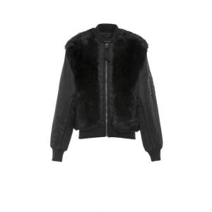 Mr & Mrs Italy Nick Wooster Unisex Black Nylon Bomber With Shearling  - Black - Size: Small