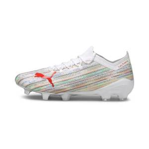 Puma ULTRA 1.2 FG/AG Soccer Cleats Shoes in White/Red Blast/Silver, Size 7.5