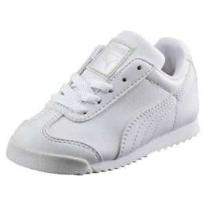 Puma Roma Basic Toddler Shoes in White/Light Gray, Size 8