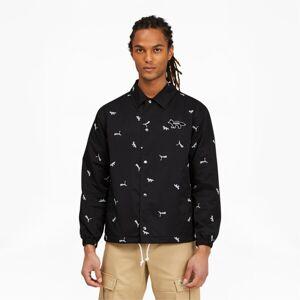 Puma x MAISON KITSUN AOP Coach Jacket in Black, Size XL