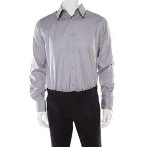 Alexander McQueen Grey Textured Cotton Eyelet Embroidered Collar Shirt XL