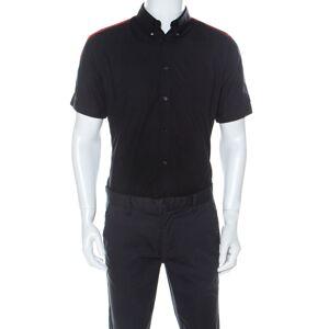 Alexander McQueen Black Cotton Red Stripe Detail Collar Stud Short Sleeve Shirt L