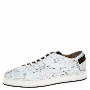 Santoni White Perforated Leather Low Top Sneakers Size 42.5