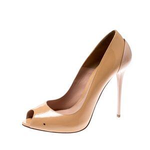 Alexander McQueen Beige Patent Leather Peep Toe Pumps Size 38