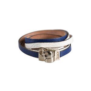 Alexander McQueen Blue & White Leather Magnetic Skull Wrap Around Bracelet