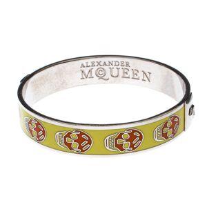 Alexander McQueen Yellow Resin Skull Enamel Silver Tone Bangle Bracelet