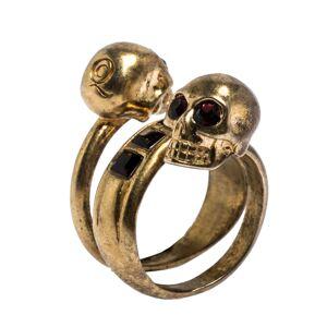 Alexander McQueen McQ by Alexander McQueen Double Crystal Skull Wrap Gold Tone Ring EU 53