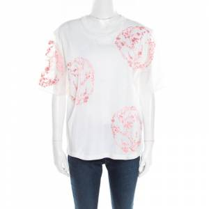 Alexander McQueen White Cotton Floral Embroidered Silk Sleeve Detail Oversized T-Shirt S