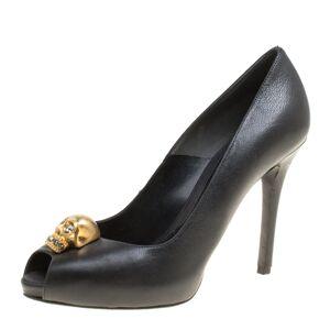 Alexander McQueen Black Leather Crystal Embellished Skull Detail Peep Toe Platform Pumps Size 35.5