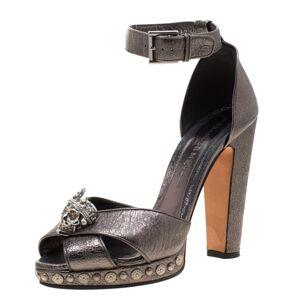 Alexander McQueen Metallic Gunmetal Leather Crystal Embellished Skull Ankle Strap Platform Sandals Size 40